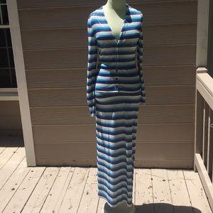 Moschino jeans metallic spandex striped skirt set